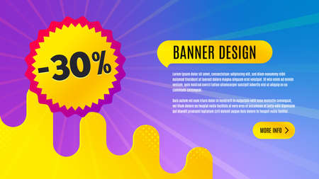 Sale 30 percent off badge. Discount banner shape. Coupon bubble icon. Abstract background design. Banner with offer badge. Vector Illusztráció