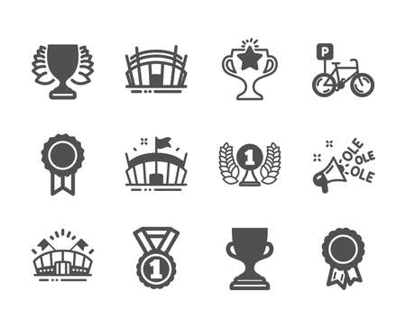 Set of Sports icons, such as Laureate award, Arena stadium, Best rank, Bicycle parking, Award cup, Winner, Ole chant, Sports arena, Success, Reward, Victory classic icons. Laureate award icon. Vector
