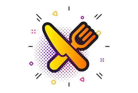 Cutlery sign. Halftone circles pattern. Food icon. Fork, knife symbol. Classic flat food icon. Vector Illustration