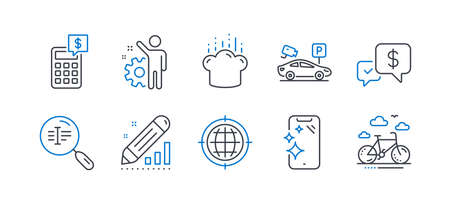 Set of Business icons, such as Parking security, Calculator, Cooking hat, Payment received, Seo internet, Smartphone clean, Employee, Search text, Edit statistics, Bike rental line icons. Vector Illustration