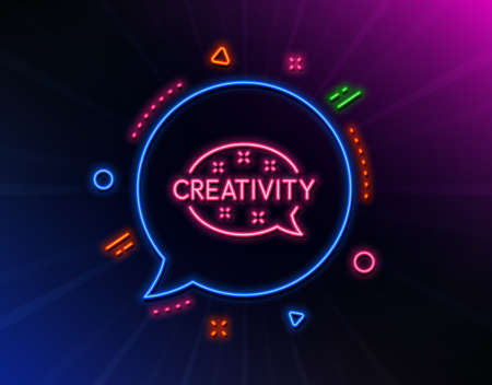 Creativity speech bubble line icon. Neon laser lights. Graphic art sign. Inspiration symbol. Glow laser speech bubble. Neon lights chat bubble. Banner badge with creativity icon. Vector Stock Illustratie