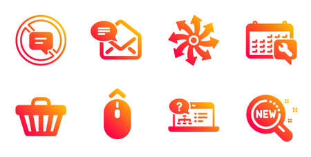 New mail, Spanner and Versatile line icons set. Shop cart, Stop talking and Online help signs. Swipe up, New products symbols. Received e-mail, Repair service. Technology set. Vector 向量圖像