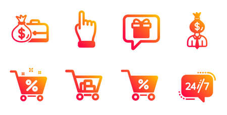 Internet shopping, Loan percent and Salary line icons set. Manager, Wish list and Special offer signs. Click hand, 247 service symbols. Cart with purchases, Shopping cart. Business set. Vector