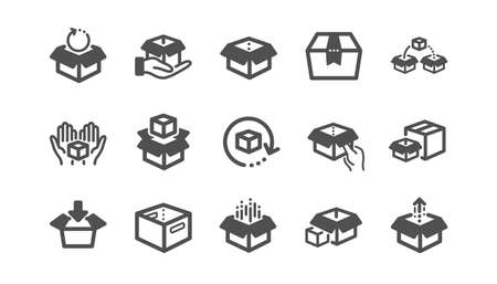 Box icons. Package, delivery boxes, cargo box. Cargo distribution, export boxes, return parcel icons. Shipment of goods, open package. Classic set. Quality set. Vector Иллюстрация