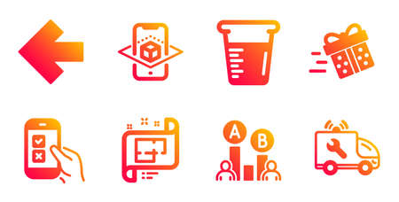 Present delivery, Mobile survey and Augmented reality line icons set. Cooking beaker, Left arrow and Ab testing signs. Architectural plan, Car service symbols. Vector