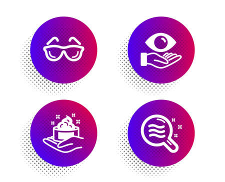Eyeglasses, Health eye and Skin care icons simple set. Halftone dots button. Skin condition sign. Optometry, Hand cream, Search magnifier. Medical set. Classic flat eyeglasses icon. Vector