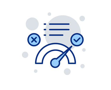 Correct answer line icon. Accepted or confirmed sign. Approved symbol. Linear design sign. Colorful correct answer icon. Vector Çizim