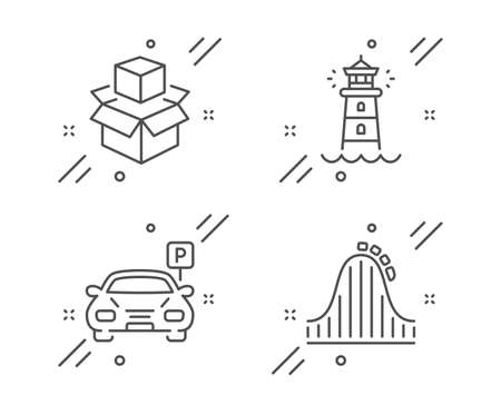Packing boxes, Lighthouse and Parking line icons set. Roller coaster sign. Delivery package, Searchlight tower, Car park. Attraction park. Transportation set. Line packing boxes outline icon. Vector