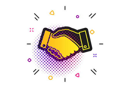 Handshake sign icon. Halftone dots pattern. Successful business symbol. Classic flat handshake icon. Vector
