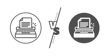 Copywriting sign. Versus concept. Typewriter line icon. Writer machine symbol. Line vs classic typewriter icon. Vector