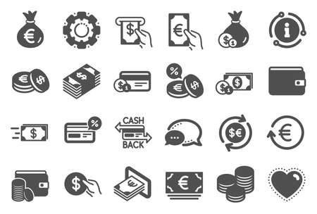 Money wallet icons. Set of Credit card, Cash and Coins icons. Banking, Currency exchange and Cashback service. Wallet, Euro and Dollar money, credit card. Cash exchange, bank payment. Vector