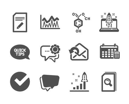 Set of Education icons, such as Edit document, Speech bubble, Calendar, Quickstart guide, Chemical formula, Send mail, Verify, Search files, Start business, Development plan, Investment. Vector