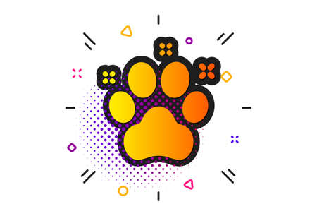 Dog paw sign. Halftone circles pattern. Pet friendly icon. Hotel service symbol. Classic flat pet friendly icon. Vector 版權商用圖片 - 129173021