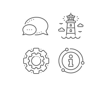 Lighthouse line icon. Chat bubble, info sign elements. Beacon tower sign. Searchlight building symbol. Linear lighthouse outline icon. Information bubble. Vector