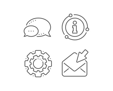 Open Mail line icon. Chat bubble, info sign elements. View Message correspondence sign. E-mail symbol. Linear open Mail outline icon. Information bubble. Vector