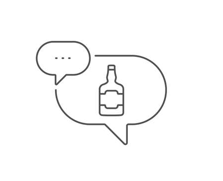 Whiskey bottle line icon. Chat bubble design. Scotch alcohol sign. Outline concept. Thin line whiskey bottle icon. Vector