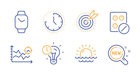 Time management, Medical tablet and Target purpose line icons set. Smartwatch, Seo analysis and Time signs. Sunset, New products symbols. Idea lightbulb, Medicine pill. Science set. Vector