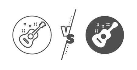 Music sign. Versus concept. Acoustic guitar line icon. Musical instrument symbol. Line vs classic guitar icon. Vector