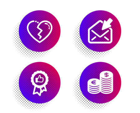 Positive feedback, Broken heart and Open mail icons simple set. Halftone dots button. Currency sign. Award medal, Love end, View e-mail. Euro and usd. Business set. Vector