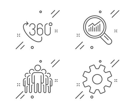 360 degree, Data analysis and Group line icons set. Service sign. Virtual reality, Magnifying glass, Managers. Cogwheel gear. Science set. Line 360 degree outline icon. Vector 일러스트