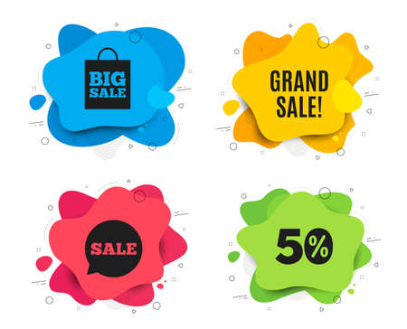 Grand sale symbol. Liquid shape, various colors. Special offer price sign. Advertising discounts symbol. Geometric vector banner. Grand sale text. Gradient shape badge. Vector