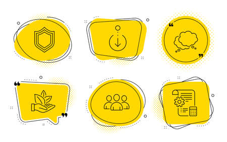 Security, Speech bubble and Settings blueprint signs. Chat bubbles. Organic product, Group and Scroll down line icons set. Leaf, Group of users, Swipe screen. Protection shield. Business set. Vector
