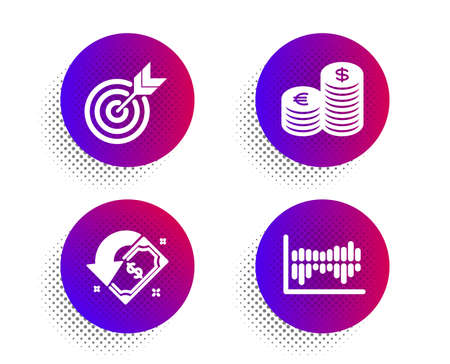 Currency, Cashback and Target icons simple set. Halftone dots button. Column diagram sign. Euro and usd, Receive money, Targeting. Sale statistics. Finance set. Classic flat currency icon. Vector Illustration