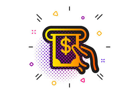 Banking currency sign. Halftone circles pattern. Cash money icon. Dollar or USD symbol. ATM service. Classic flat aTM service icon. Vector