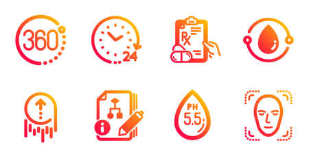 Prescription drugs, 24 hours and 360 degrees line icons set. Swipe up, Ph neutral and Algorithm signs. Cold-pressed oil, Face detection symbols. Pills, Time. Science set. Vector