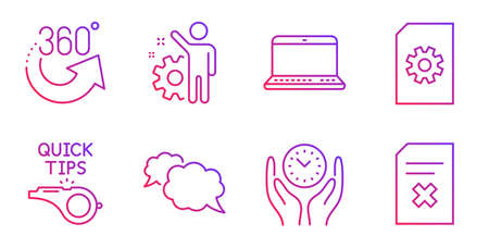Employee, 360 degrees and File management line icons set. Tutorials, Notebook and Messenger signs. Safe time, Delete file symbols. Cogwheel, Full rotation. Technology set. Vector