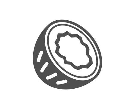 Tasty nut sign. Coconut icon. Vegan food symbol. Classic flat style. Simple coconut icon. Vector