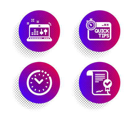 Time management, Sound check and Quick tips icons simple set. Halftone dots button. Approved agreement sign. Office clock, Dj controller, Helpful tricks. Verified document. Education set. Vector