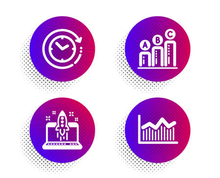 Start business, Time change and Graph chart icons simple set. Halftone dots button. Money diagram sign. Launch idea, Clock, Growth report. Currency diagram. Education set. Vector