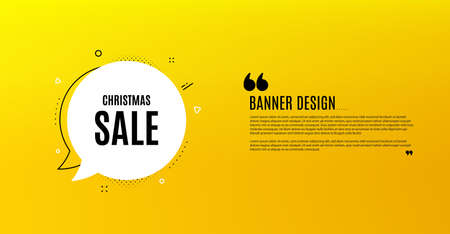 Christmas Sale. Yellow banner with chat bubble. Special offer price sign. Advertising Discounts symbol. Coupon design. Flyer background. Hot offer banner template. Vector