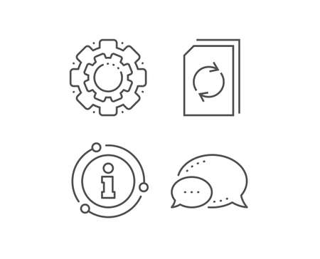 Update Document line icon. Chat bubble, info sign elements. Refresh Information File sign. Paper page concept symbol. Linear update document outline icon. Information bubble. Vector Ilustrace