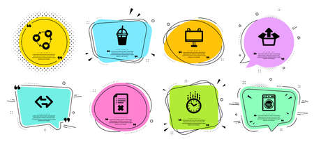 Friends community, Time and Coffee cocktail line icons set. Chat bubbles with quotes. Laundry, Sync and Road banner signs. Reject file, Send box symbols. Love, Clock. Business set. Vector