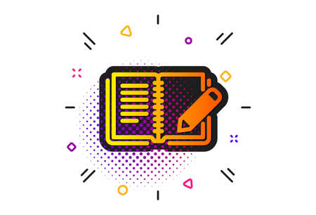 Book with pencil sign. Halftone circles pattern. Feedback icon. Copywriting symbol. Classic flat feedback icon. Vector Illusztráció