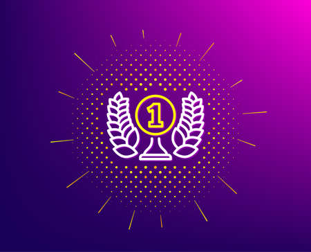 Laureate award line icon. Halftone pattern. Winner prize symbol. Prize with Laurel wreath sign. Gradient background. Laureate award line icon. Yellow halftone pattern. Vector