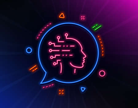 Artificial intelligence line icon. Neon laser lights. Ai head sign. Robotic intellect symbol. Glow laser speech bubble. Neon lights chat bubble. Banner badge with artificial intelligence icon. Vector