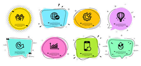 Organic product, World statistics and Graph line icons set. Chat bubbles with quotes. Share idea, Recovery phone and Seo gear signs. Air balloon, Medical tablet symbols. Leaf, Global report. Vector