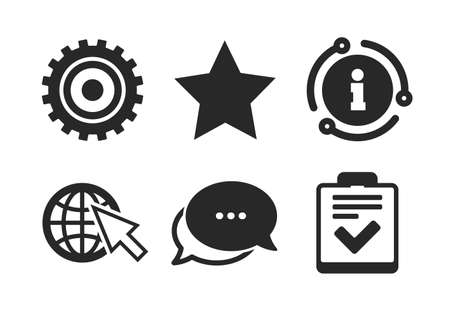 Checklist and cogwheel gear sign symbols. Chat, info sign. Star favorite and globe with mouse cursor icons. Classic style speech bubble icon. Vector Ilustração