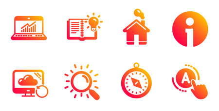 Travel compass, Product knowledge and Info line icons set. Home, Search and Recovery cloud signs. Online statistics, Ab testing symbols. Trip destination, Education process. Technology set. Vector