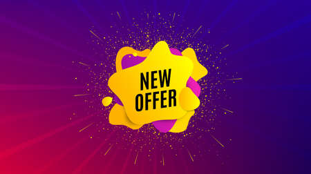 New offer. Dynamic text shape. Special price sign. Advertising Discounts symbol. Geometric vector banner. New offer text. Gradient shape badge. Colorful background. Vector Stock Illustratie