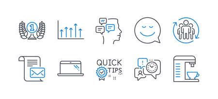 Set of Business icons, such as Time management, Growth chart, Quick tips, Messages, Smile, Teamwork, Mail letter, Laureate award, Laptop, Coffee machine line icons. Office chat, Upper arrows. Vector Иллюстрация