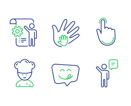 Cooking chef, Hand click and Yummy smile line icons set. Settings blueprint, Social responsibility and Agent signs. Sous-chef, Location pointer, Emoticon. Engineering cogwheel. People set. Vector