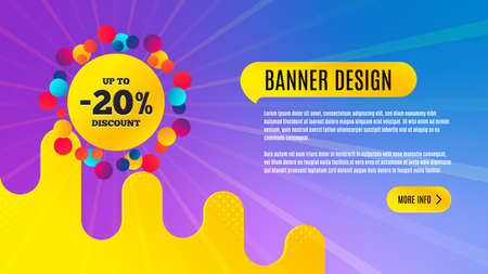 Sale 20 percent off badge. Discount banner shape. Coupon bubble icon. Abstract background design. Banner with offer badge. Vector Illusztráció