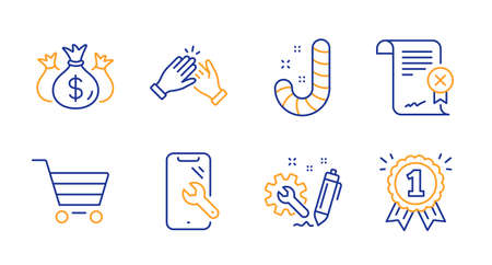 Check investment, Engineering and Smartphone repair line icons set. Market sale, Candy and Clapping hands signs. Reject certificate, Reward symbols. Business report, Construction. Vector