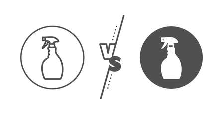Washing liquid or Cleanser symbol. Versus concept. Cleaning spray line icon. Housekeeping equipment sign. Line vs classic spray icon. Vector  イラスト・ベクター素材