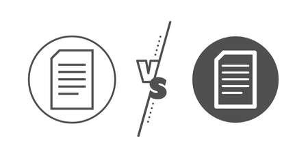 Information File sign. Versus concept. Document Management line icon. Paper page concept symbol. Line vs classic document icon. Vector