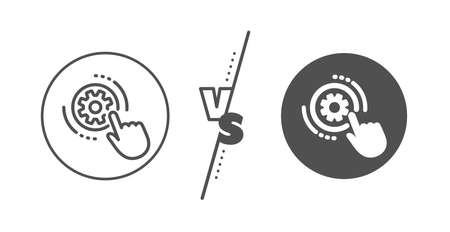 Engineering tool sign. Versus concept. Cogwheel settings line icon. Cog gear symbol. Line vs classic cogwheel settings icon. Vector
